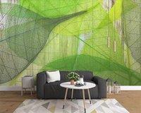 Papel pintado con hojas Nordic Minimalista Hoja Verde Venas Fondo Fondo de pared Pintura Papel pintado de fotos 3D