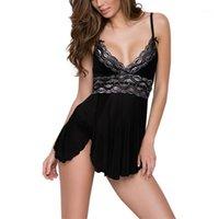 Mulheres sleepwear 6xl sexy lingerie mulheres 2021 verão dormir vestido lantejould patchwork nightdress senhoras alta split cinta de nightwear erótico