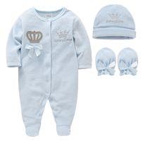 Neugeborene Baby Jungen Mädchen Strampler mit Hut Handschuhen Langarm Cartoon Crown Samt Infant Overall Overalls Kleinkind Onesies Outfit 201127