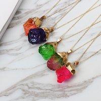 Geode Druzy Natural Gold Color Gold Color Pietra Pendente in pietra per le donne Collana al quarzo