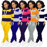 2020 Womens Patchwork Tracksuit Manica lunga con cappuccio + Leggings Pantaloni Suit Suit Sweatsuit Pullover Camicetta Pant Abiti Abbigliamento Abbigliamento Abbigliamento sportivo E120902