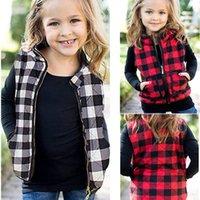 Bambini bambini ragazze cotone imbottito gilet giacche invernali giacche cerniera cappotto con cerniera moda plaid gilet wadded canottiera calda outwear top vestiti LY11262
