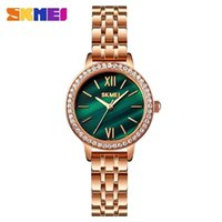 Skmei 1711 Semplice design Braccialetto orologio Abito moda Signore Guarda la fascia in acciaio 3bar impermeabile Verde Green Clock Relogio feminino