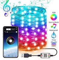 Décoration d'arbre de Noël LED lumières Smart Bluetooth Personnalisé String lumières personnalisées application Contrôle de la télécommande USB Fairy Lights