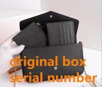Bolsa de mensageiro das mulheres bolsa de bolsa original 3 em 1 alta qualidade com número de data de série com caixa