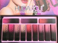 Hot Sale Factory Deriction Mais Novo Maquiagem Huda Moji 12 Color Batom Conjunto Cup não-Stick Longo Durável Impermeável Matte Batom Frete Grátis
