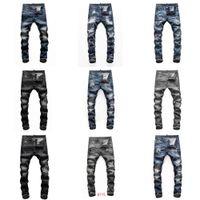 Dsquared2 Mens Denimr Jeans Black Ripped Pants Meilleure version Skinny Broken H1 Italie Style Vélo Vélo Rock Reviva AjuDsqDsq2Dsquared