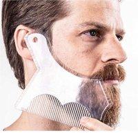 الرجال اللحية تشكيل قالب التصميم مشط شفافة الرجال اللحى أمشاط أداة الجمال ل hair beard تريم t sqchzy