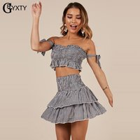 GbyXty Summer Vêtements Ensembles pour femmes Jupe de 2 pièces Jeu de cultures et de volants jupe costume Boho Plage Set Femme Party Outfit ZA1454 T200622