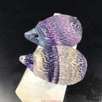 Dekoratif Nesneler Figürinler Doğal Kuvars Kristal Oyma Gökkuşağı Florit Kirpi Taş Labradorit Değnek Dekorasyon El Sanatları