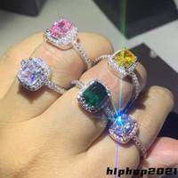 925 Стерлинговое серебро Moissanite Certified Diamond Обручальное кольцо для женщин Вовлечение Квадрат Цветной драгоценный камень Циркон Модные кольца