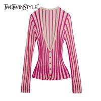 Twotwinstyle Casual listrado Wemon Sweaters v pescoço manga comprida túnica bateu cor camisola para fêmea moda primavera roupas novas 201006