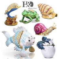 HD pintado à mão esmalte animal figurine cristal jóias articuladas caixas de trinket decorativo caixa de jóias collectible presente y201020