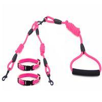 Dadugo Double Pet Dog Leash Safe Прогулка для прогулок Pet Leash для 2 Собаки Поводки Нейлон Размер S / M 5 Цветов Dropshipping LJ201112