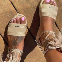 Sapatos de lona das mulheres de verão Luxo Mulheres Low-Heeled Casual Sandálias Confortável Designer Ankle Lace-Up Chinelos de Praia Feminino Plus Size41 42