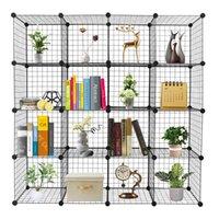 Горячая 16 Сетка Железная Сетка Материал Стеллаж DIY Сборка Домохозяйки Шкаф для хранения Кубический Ящик для хранения Черный