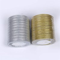 Ruban de soie coloré bricolage décoratif doré argenté arc de tresse cadeau gâteau de gâteau Simplicity boîte emballage emballage châtrice 3 8yy k2