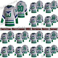 캐롤라이나 허리케인 저지 2021 Reverse Retro 20 Sebastian Aho 11 Staal 10 Francis Hartford Whalers Hockey Jerseys