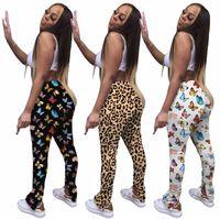 Mujeres Micro Bell-Fisioterapia Pantalones de fondo Plisado Impresión Split Presión Mariposa Leopardo Pantalones largos Ladies Casual Hip-Levantamiento Slim Pantalones Nuevo A226
