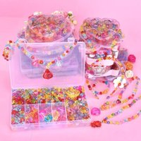1200 PCS DIY Handmade Frisado Brinquedo Crianças Criativo Espaçador Spacer Grânulos Fazendo Bracelete Colar Jóias Kit Girl Brinquedo Presente