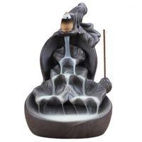 Rauchrückschlag Keramik Weihrauch Brenner Kegelstock Halter ZENSER BLACK MITTEL Artikel Dekoration Wohnofen Base1