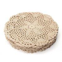 12pcs tapete de algodão vintage mão redondo mão de crochê doilies floras floristas da flor do agregado familiar artesanato decorativo acessórios T200703