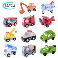 12pcs Set Mini Auto in legno Auto Aeroplano Modello Giocattolo Semplice Stile Decorazione Colore In Legno Auto Aeroplano Mini Giocattolo educativo per bambini LJ200930