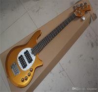 Top Calidad 5 Cadena Música personalizada Música Mano Bongo 6HH Metal Metal Color Amarillo Pickup Activo Guitarra eléctrica