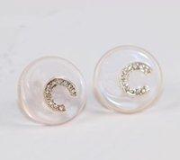 الفدروري الجودة جولة شكل مسمار القرط مع ضوء الوردي الأكريليك والشركات الماس للنساء مجوهرات الزفاف هدية شحن مجاني PS3573