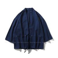 Ropa étnica tradicional estilo japonés baño bata bata moda hombres samurai cardigan kimono haori japon guerrero yukata obi asiático abrigo