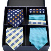 Yay bağları roman tasarım kravat set ipek 3type ekose nokta katı erkekler 7.5 cm hediye kutusu mendil GL-071