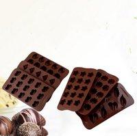 DIY Chocolate Silicona Rectángulo Moldes Simulación Molde de galletas Forma de corazón Patrón de cerdo de Demoulding Fácil Demoulding Herramientas para hornear E121601