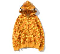 Neue ankunft camo shark mund gedruckt hoodies männer frauen camo farben cardigan hip hop hoodies sport sweatshirts größen s-xxl