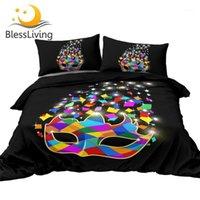 BESSLANTE HARLEQUIN MASCARA Juego de ropa de cama Carneval Party Bed Set Glitter Edred Cubierta Color Colorido Hogar Textiles Queen Tamaño 3pcs1