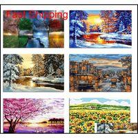 Frameless Digital Pittura Pittura ad olio fai da te da numeri albero paesaggio moderno arte della parete quadri in tela appeso Qylxzt imballaggio2010