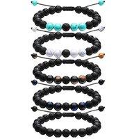 Verstellbare vulkanische Lava Steinperle Armband Yoga Lava ätherische Öl Diffusor Perlen geflochtene Armbänder Armreif Heilungsbetrag 132 O2