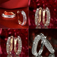 Позолоченные серьги Серьги горный хрусталь хрусталь мода блестящие дамские кольца ювелирные изделия в день Святого Валентина Красивая Европа Америка горячая распродажа 2 2JH M2