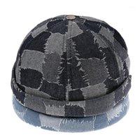 Retro Contraste xadrez lavado Denim Docker boné Afligido Rolled Skull Hat1