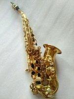 Helt ny böjd sopran saxofon guld nyckel mässing sax professionell munstycke fläckar pads reeds bend nacke