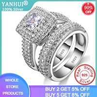With Certificate Luxury Real 925 Silver Wedding Bands Ring S...