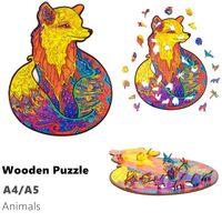 Wholesale quebra-cabeça de madeira quebra-cabeças de animais de serra de vaivém para adultos e crianças inspirando puzzles de madeira brinquedos A4