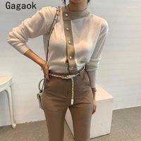 Maglioni da donna Gagaok Office Lady coreano retrò lavorato a maglia 2021 primavera autunno patchwork o collo sottile chic pullover semplici k39921