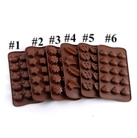 DIY Chocolate Silicona Rectángulo Moldes Simulación Molde de galletas Forma de corazón Patrón de Animal Easy Demoulding Cocina Herramientas para hornear E121601