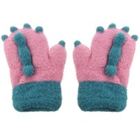Cinco Luvas de Dedos 1 Par de Inverno Quente Kids Luva Grosso Bonito dos Desenhos Animados Dedo
