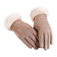 Cinco dedos luvas moda elegante fêmea lã touch screen inverno mulheres quente cashmere dedo ao ar livre calor miten
