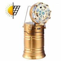 الفوانيس المحمولة بقيادة الشمسية التخييم في الهواء الطلق الصيد خيمة مصباح ضوء فانوس الشعلة مع fan1
