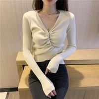 Camisolas femininas Shintimes em v-pescoço de v-pescoço Bangage moda coreana inverno suéter curto mulheres manga longa 2021 tricotada pulôver