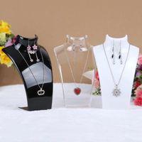 Collar de maniquí acrílico Exhibición de la exhibición del soporte del soporte del soporte del soporte del soporte para collares colgantes