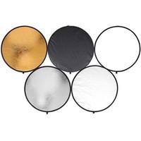 1 Taşınabilir Dairesel Çelik çerçeveli Fotoğraf Stüdyosu Işık Mulit Katlanır Reflektör + taşıyan Çanta 60cm 80cm Yuvarlak Disk 5