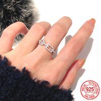 حار بيع الأزياء 100٪ 925 فضة خواتم سلسلة ربط مختبر الماس الدائري الزفاف خواتم الخطبة مجوهرات هدية للنساء XR450